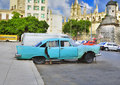 Vintage american car in havana street Royalty Free Stock Images