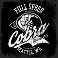 Vintage American furious cobra bikers club tee print vector design isolated on black background.