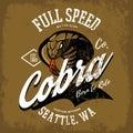 Vintage American furious cobra bikers club tee print vector design isolated on khaki background.