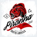Vintage American furious piranha bikers club tee print vector design on white background.