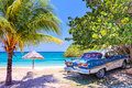 Vintage american oldtimer car on a beach in Cuba Royalty Free Stock Photo