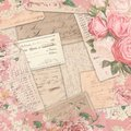 Vintage Americana Ephemera - Roses Shabby Pattern - Watercolor Accent Scrapbook Paper Design Royalty Free Stock Photo