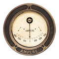 Vintage ampere meter isolated on white round analog a background Stock Photos