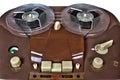 Vintage analog recorder reel to reel on white Royalty Free Stock Photo