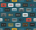 Vintage analogue music recordable cassettes seamless background Royalty Free Stock Image