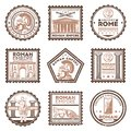 Vintage Ancient Rome Civilization Stamps Set