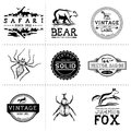 Vintage animal labels layered hand crafted vector and badges Stock Photos