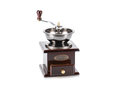 Vintage antique coffee mill isolated on white image of Stock Photo