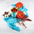Vintage, antique cup of tea decorated with flowers on white background Royalty Free Stock Photo