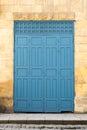 Vintage antique folding wooden decorated blue door