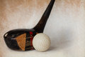 Vintage antique golf driver putter club retro paper background Royalty Free Stock Image