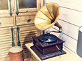 Vintage antique gramophone with phonograph record Royalty Free Stock Photo