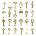 Vintage antique key collection in golden color isolated on white background, vector illustration Royalty Free Stock Photo