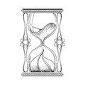 Vintage antique wizard hourglass in dotwork tattoo design for al