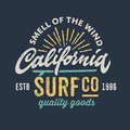 Vintage apparel design for surfing company t shirt graphic Royalty Free Stock Photography