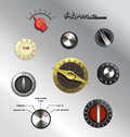 Vintage appliance electronics knobs set of retro dials and Stock Photo