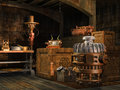 Vintage appliances in a basement fantasy scene with and wooden crates Stock Photos