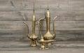 Vintage arabic jug, vase, lamp, teapot. Golden oriental decorati Royalty Free Stock Photo