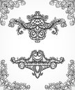 Vintage architectural details design elements. Antique baroque classic style border and cartouche in engraving style