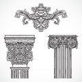 Vintage architectural details design elements. Antique baroque classic style column and cartouche Royalty Free Stock Photo