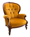 Vintage armchair antique orange isolated on white background Stock Photo