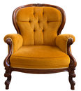 Vintage armchair antique orange isolated on white background Royalty Free Stock Images
