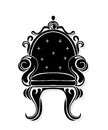Vintage armchair black silhouette. French Luxury rich carved ornaments decorated furniture. Vector Victorian Royal Style