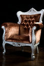 Vintage armchair velvet brown color with carved legs Royalty Free Stock Photos