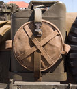 Vintage army jerry can c attached to the back of an vehicle Royalty Free Stock Photography