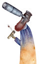 Vintage astronomer original watercolor illustration by eugene ivanov Royalty Free Stock Photos