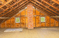 Vintage attic in old farm house wood beam ceiling built a traditional way the Stock Image