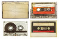 Vintage audio compact cassettes isolated on white Royalty Free Stock Photo