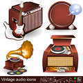 Vintage audio icons 1 Stock Photography