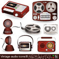 Vintage audio icons 3 Stock Photos
