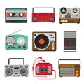Vintage audio music and sound recorders set Royalty Free Stock Photo