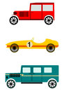 Vintage automobile set on a white background of three vehicles Royalty Free Stock Photo