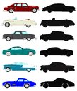 Vintage autos in silhouette and color collection set over white Stock Images