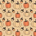 Vintage autumn fall seamless vector pattern background illustration with pumpkins and acorns