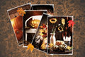 Vintage autumn postcards on a dark damask background Royalty Free Stock Photos