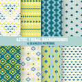 Vintage aztec tribal backgrounds seamless patterns in vector Royalty Free Stock Photography