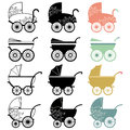 Vintage baby carriage a vector illustration of Stock Photo
