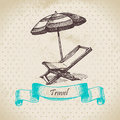 Vintage background with beach armchair and umbrella hand drawn illustration Stock Photography