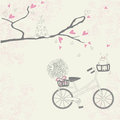 Vintage background with bicyble cat flowers and tree with hearts Stock Image