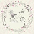 Vintage background with bicycle hand drawn cat bouquet and floral frame heart Stock Images