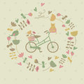 Vintage background with bicykle cat flowers and hearts Stock Photography