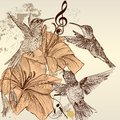 Vintage background with birds and flowers cute in style hand drawn Royalty Free Stock Images