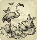 Vintage background with blooming roses bird flami flamingos and butterflies vector illustration Royalty Free Stock Image