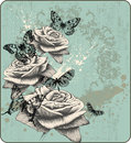 Vintage background with blooming with roses and bu Stock Photos