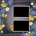 Vintage background with blue and yellow flowers frames Royalty Free Stock Photo