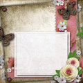 Vintage background with card Royalty Free Stock Photography